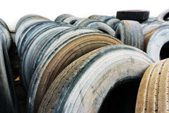 Car tire heap close up, used car tires Stock Image