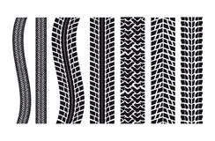 Car tire imprints. Set of different car tire imprints Royalty Free Stock Photos