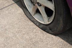 Car tire leak. Royalty Free Stock Photo