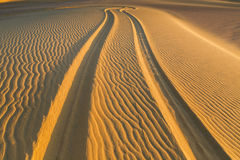 Car Tire Print. Four Wheel Drive car tire print on sand dune in the desert of Fayoum, Egypt Stock Photos