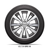 Car tire radial wheel metal alloy on isolated background vector. Royalty Free Stock Photo