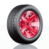 Car tire with red rim Stock Images