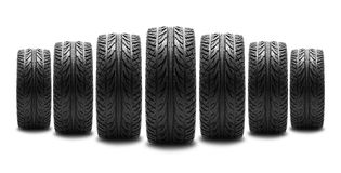 Car tire. Rubber car tire on white background royalty free stock photography