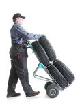 Car tire serviceman Royalty Free Stock Images
