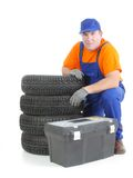 Car tire serviceman Stock Photos