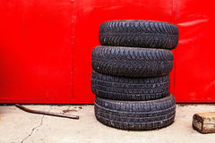 Car tire shop background Royalty Free Stock Photo