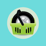 Car tire and shopping basket flat design Stock Images