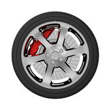 Car tire side view concept  3d illustration Royalty Free Stock Image