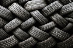 Car tire texture. Car tires on a dark background royalty free stock photography