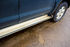 Car Tire Trace And Shoes Mark On The Mud. Stock Photos