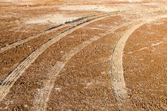 Car tire track Royalty Free Stock Photos