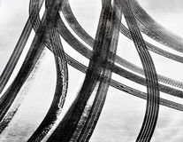 Car tire tracks. In the snow stock photo
