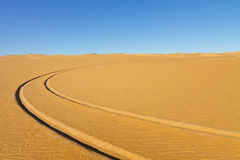 Car Tire Tracks in the Desert Stock Image