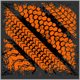 Car tire tracks with grunge - vector set Royalty Free Stock Photography