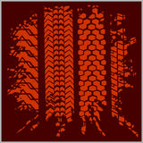 Car tire tracks with grunge - vector set Stock Image