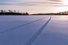 Car tire tracks on snow cover at a lake Stock Photography
