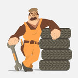 Car tire tyre service. Strong smile man holding wrench and leaning on a stack of wheel. Car tire tyre service illustration Stock Images