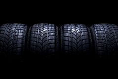 Car tires. Isolated on black background