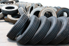 Car tires with alignment in heap. Used tires Stock Photo