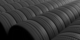 Car tires as background. 3d illustration. Car tires as full background. 3d illustration Stock Images