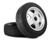 Car tires on background. Car tires on white background Royalty Free Stock Images