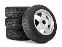 Car tires on background. Car tires on white background Royalty Free Stock Photo