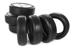 Car tires on   background. Car tires on white background Stock Photography