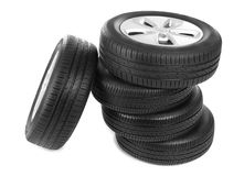 Car tires on background. Car tires on white background Royalty Free Stock Photography