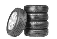 Car tires on   background. Car tires on white background Stock Image