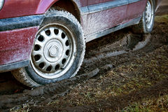 Car tires in dirt Royalty Free Stock Photo