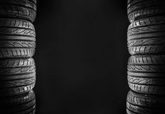 Car Tires Isolated On Black Royalty Free Stock Photo