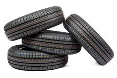 Car tires isolated on white background Stock Photos