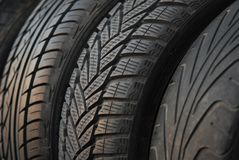 Car tires,new and used Royalty Free Stock Photo