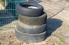 Car tires. Pile of old used car tires Stock Photo