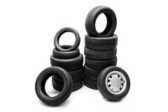 Car tires piled up in two separate stacks Stock Photography