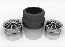 Car tires with a rim Stock Images
