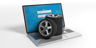 Car tires and rims on a laptop - white background. 3d illustration. Car wheels on a laptop on white background. 3d illustration Stock Photos
