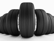 Car tires in a row Royalty Free Stock Photos