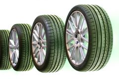 Car Tires in a Row stock images
