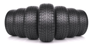 Car tires in row Royalty Free Stock Images