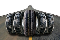 Car tires in row on the street Stock Photography
