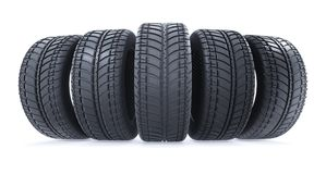Car tires in row on white background. New black wheel tyres for. Car. 3d illustration Royalty Free Stock Photos