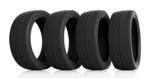 Car tires set on white background. 3d illustration. Car tires set isolated on white background. 3d illustration Stock Image