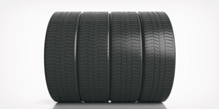 Car tires set on white background. 3d illustration. Car tires set isolated on white background. 3d illustration Stock Photography