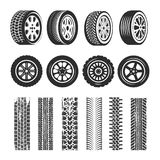 Car tires and track traces vector isolated icons of tire  Stock Photography
