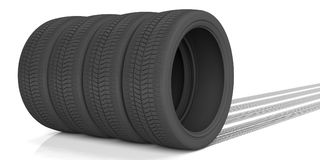 Car tires and traces on white background. 3d illustration. Car tires and tracks on white background. 3d illustration Royalty Free Stock Photo