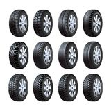 Car tires vector 3d isolated icons with tread pattern Royalty Free Stock Image