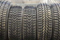 Car tires in a warehouse Royalty Free Stock Photo