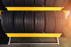 Car tires at warehouse . Car tires  and wheel at warehouse Stock Photo