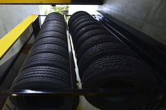 Car tires at warehouse . Car tires  and wheel at warehouse Royalty Free Stock Photo